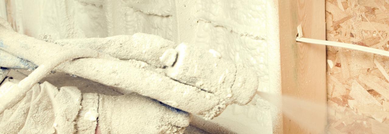 A+ Insulation Foam, Person applying spray foam to wall, MA